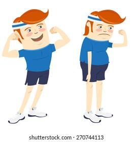 Vector illustration Hipster funny men showing biceps. Flat style