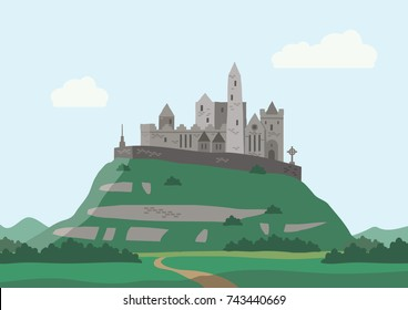 A vector illustration of the historic landmark the Rock Of Cashel, in County Tipperary in Ireland.