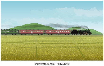 Vector Illustration: Historic Procession Train classic Led by steam locomotive world war generation With background landscape in fields mountains and sky in lifestyle nature countryside.
