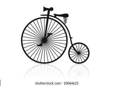 Vector illustration of a historical high wheel bike