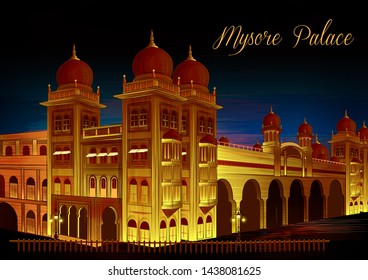 vector illustration of historical monument Mysore Palace in Karnataka, India