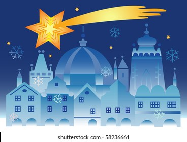 Vector illustration of historical winter town with bethlehem star .