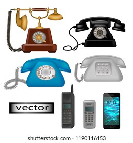 Vector illustration of the history of the phone, the stages of evolution of electronic devices, retro phones and tablets, wire spring