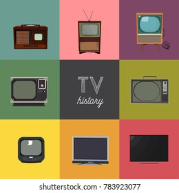 vector illustration history of television. tv technology elements collection. retro and modern. decade of tv. home appliances.