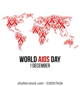 Vector illustration of hiv,aids awareness background isolated on white. World Aids Day concept. 1 December. Red ribbons on the map of world emblem. World Aids Day template for you design.
