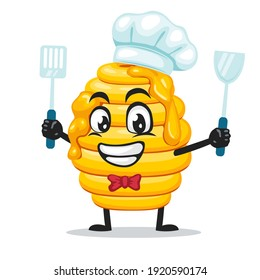 vector illustration of hive bee mascot or character wearing chef hat and holding spatula