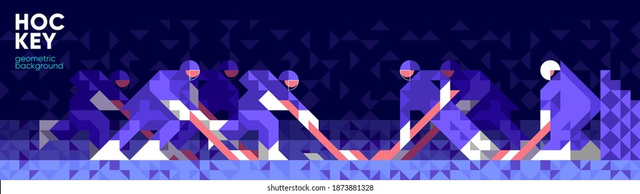 Vector illustration. Hockey game, hockey Players and goalie. Abstract, background patterns, triangular mosaics, stylized polygonal images, geometric backgrounds, large width.