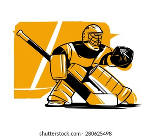 Vector illustration. Hockey goalkeeper in helmet and gate