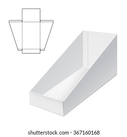 Vector Illustration of Holder Die Cut craft Box for Design, Website, Background, Banner. Folding package Blank Displays Template. Empty Fold pack with die line for your brand on it