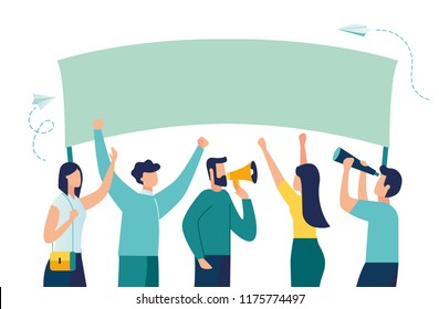 Vector illustration, holding banners and posters. Men and women take part in political rallies, parades or rallies.