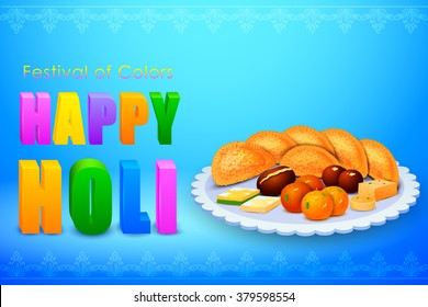 vector illustration of Holi celebration background with assorted sweets