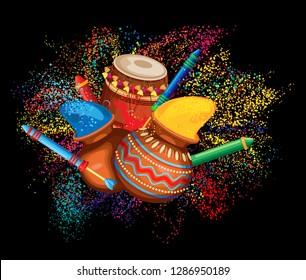 Vector illustration for holi festival colors. Black background