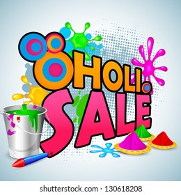 vector illustration of Holi Sale with color and pichkari for promotion poster