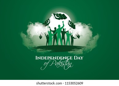 vector illustration. holiday August 14 is the day of independence of Pakistan. symbolic green colors and people silhouettes with flag