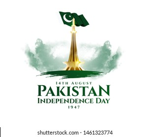 vector illustration. holiday August 14 is the day of independence of Pakistan. symbolic green colors