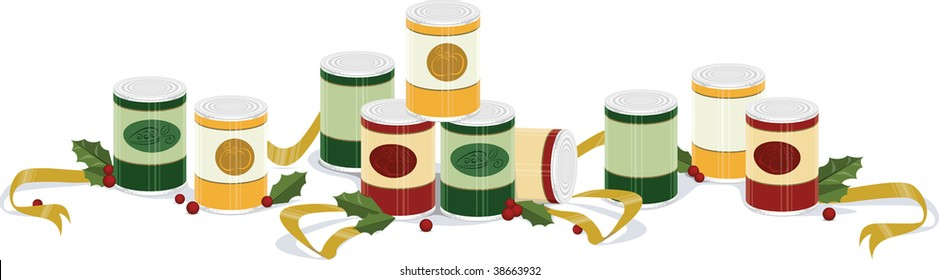 a vector illustration of a holiday banner with canned goods, ribbons, and holly