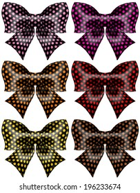 Vector illustration - holiday black polka dot bows. Created with gradient mesh and blending modes.