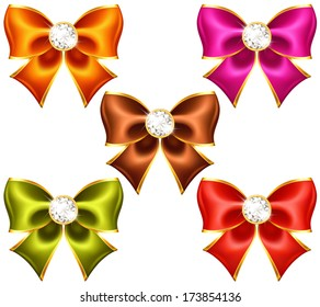 Vector illustration - holiday bows with diamonds. Created with gradient mesh and blending modes.