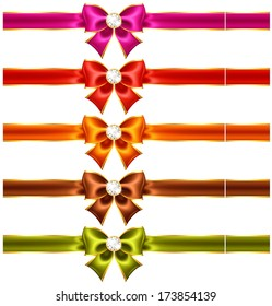Vector illustration - holiday bows with diamonds and ribbons. Created with gradient mesh and blending modes.