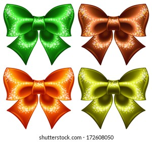 Vector illustration - holiday bows with glitter. Created with gradient mesh and blending modes.