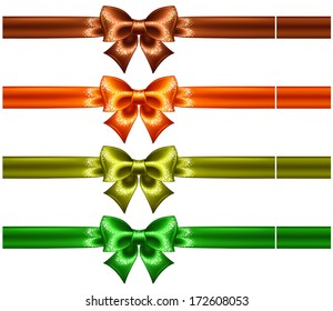 Vector illustration - holiday bows with glitter and ribbons. Created with gradient mesh and blending modes.