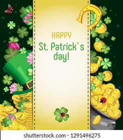 Vector illustration for the holiday of St. Patrick. Leprechaun's hat on piles of gold coins surrounded by leaves and flowers of clover. Cauldron with gold coins and falling coins and leaves