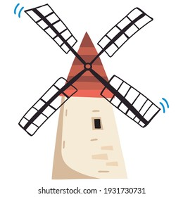 Vector Illustration of Holland Windmill . Vector image isolated on a white background.