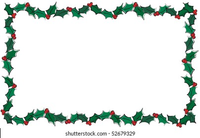 A vector illustration of holly leaves creating a frame. Isolated on white with space for text.