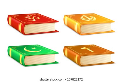 vector illustration of holy book for different religion