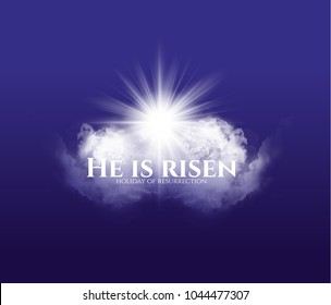 vector illustration for the Holy Easter. resurrection of Christ. clouds with the sun and with the silhouette of Christ. text He is risen