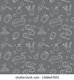 Vector illustration home bath symbols collection. Seamless pattern hand drawn doodle Bathroom related icons set. Sketch soap, towel, Toothbrush, gel, shampoo, shower, washcloth.
