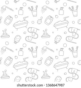 Vector illustration home bath symbols collection. Seamless pattern hand drawn doodle Bathroom related icons set. Sketch soap, towel, Toothbrush, gel, shampoo, washcloth, shower.