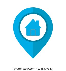 Vector illustration of home pinpoint blue and white isolated icon. Home map point sign.