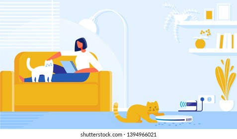 Vector Illustration Home Robot Cleaner Cartoon. Interior Living Room in Apartment where Cats Live. Girl Lying on Couch with Laptop. Robot Vacuums Trash and Wool From Pets on Floor Flat.