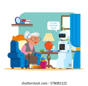 Vector illustration of home robot giving pills to grandmother. Robot assistant concept. Its time for your pills speech bubble. Cartoon characters and living room interior in flat style design.