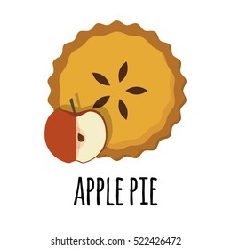 vector illustration of homemade pies with pumpkin filling. great for bakery, pastry, confectionery menu design. good for homemade pies labels. comfort food concept.