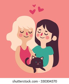 Vector illustration of a homosexual couple featuring two cute girls holding their pet cat. Characters isolated from background.