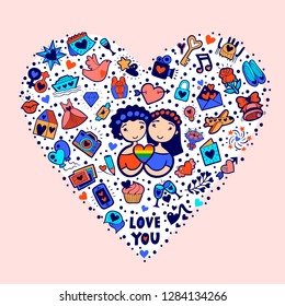 Vector illustration of a homosexual couple of girls with LGBT symbol rainbow heart. Lesbian Valentines Day greeting card. Cute cartoon characters that can be used as a print, logo, flyer, postcard.