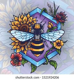 Vector illustration of honey bee