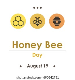 vector illustration for honey bee day in August