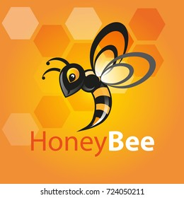 Vector illustration, honey bee icon or mascot
