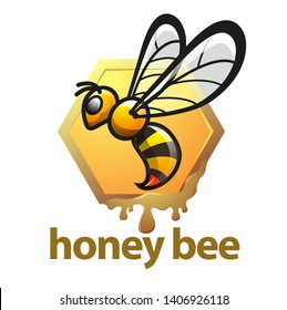 Vector illustration, honey bee symbol or icon