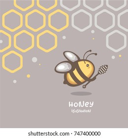 Vector illustration with honeycombs and cute bee. Logo and pack design.