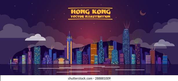 Vector illustration of Honk Kong by night . vector illustration