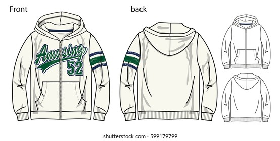 Vector illustration of hoodie shirts. Front and back views