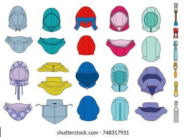 vector illustration with hoods and zippers for men and women clothes