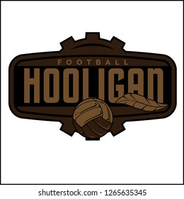 Vector illustration of hooligan, ball logo and emblem