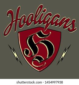 Vector illustration of hooligan. Soccer logo design template. Football emblem pattern. Print on t-shirt graphics. Vector illustration - Vector