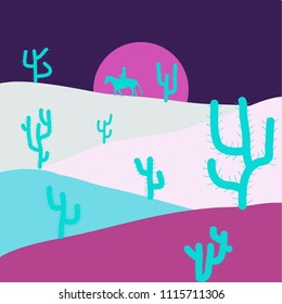 Vector illustration. Horizon line with sky. Extreme tourism and traveling. Design on violet, magenta and blue colors. Exploring Africa. Birds. Sands. Back to nature. Desert trip. Mountains.
