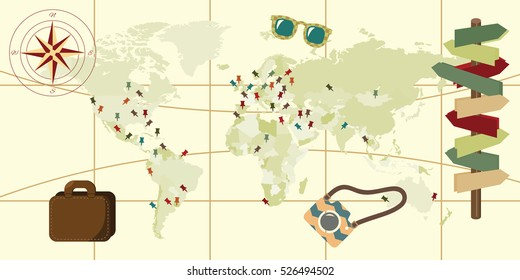 vector illustration of horizontal banner with aged world map with signpost and pinned destinations on vintage background
